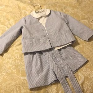 Boys three piece seersucker suit